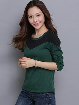 Casual Color Block Round Neck T-Shirt