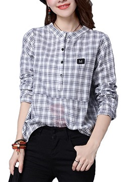 Casual Check Long Sleeve Loose Blouse