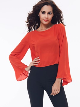 Simple Plain Flare Sleeve Loose Blouse