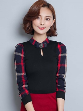 Stylish Patchwork Stand Collar Loose Blouse