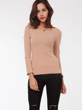 Stylish Crossing Collar Slim T-Shirt