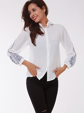 Embroidery Long Sleeve Lapel Shirt