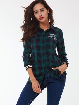 Stylis Plaid Lapel Long Sleeve T-Shirt