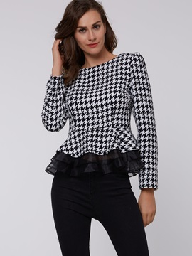 Stylish Plaid Slim Blouse