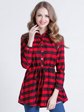 Stylish Plaid Mid-Length Blouse