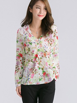 Stylish Floral Printed Long Sleeve Blouse