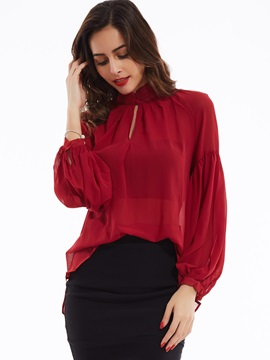 Stylish Plain Stand Collar Off Shoulder Blouse
