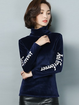 Stylish Letter Printed Sleeve Slim T-Shirt