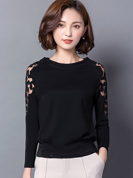Stylish See-Through Sleeve Plain T-Shirt