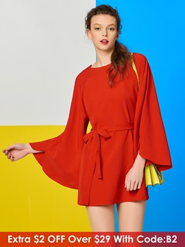 Solid Color Backless Flare Sleeve Women's Blouse