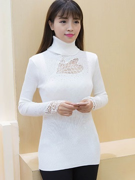 Stylish Hollow Turtleneck T-Shirt