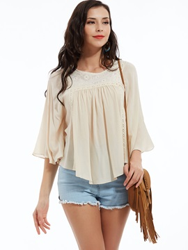Stylish Plain Lace Patchwork Blouse