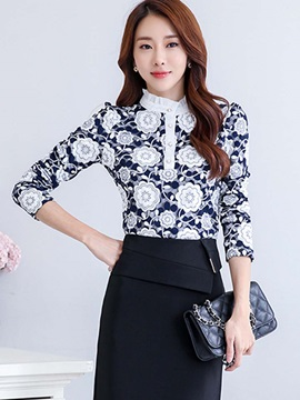 Stylish Flower Printed Slim Blouse