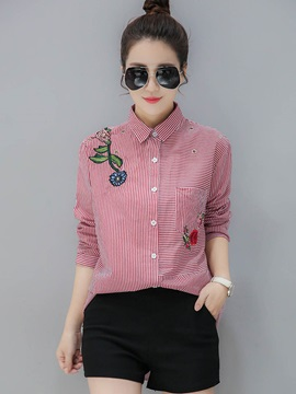 Stylish Slim Embroidery Lapel Shirt