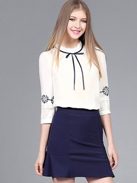 Stylish Embroidery Ruffled Collar Blouse