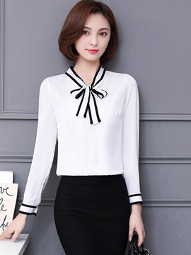 Stylish Color Block Bowknot Slim Blouse