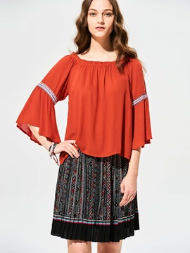 Stylish Slash Neck Flare Sleeves T-shirt