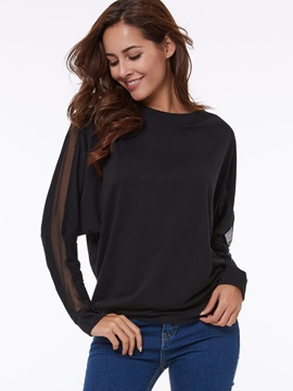 Classical Round Neckline Long Sleeves Chiffon T-Shirt
