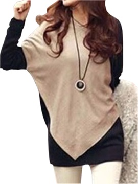 Color Block Round Neck Long Sleeve Casual T-Shirt
