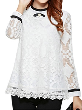 Stylish Lace See-through Sleeves T-Shirt