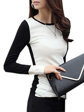 Slim Color Block Long Sleeve Women's T-Shirt