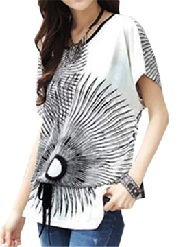 Special Pattern Lace-up Hem T-Shirt