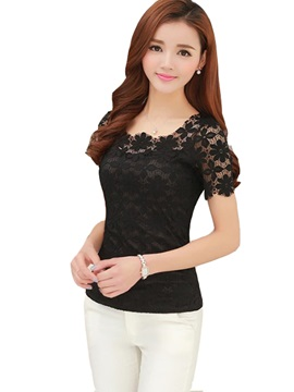 See-through Lace Sleeves Slim T-Shirt