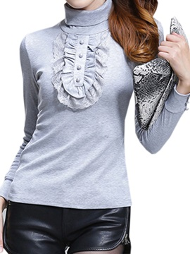 Stylish Falbala Decoration High Collar T-Shirt