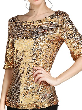 Stylish Sequins Decoration Fabric Slim T-Shirt