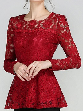 Special Hem See-through Lace Sleeves T-Shirt