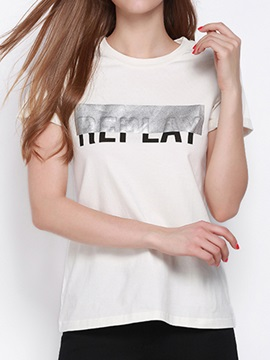 Special Letter Pattern Slim T-Shirt