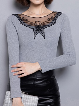 Special Pattern See-through Collar T-Shirt