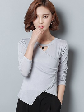 Chic Multi Color Asymmetric Inclined T-Shirt