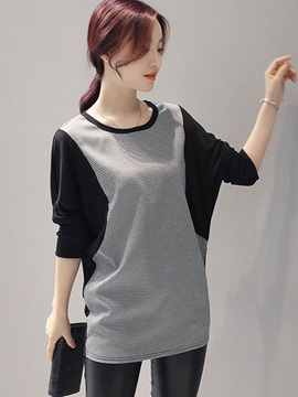 Casual Patchwork Batwing Sleeve T-Shirt