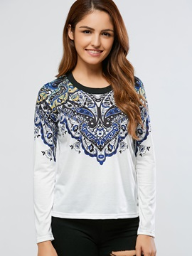 Stylish Vintage Printed Loose T-Shirt