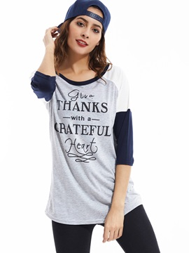 Stylish Casual Round Neck Color Block T-shirt