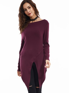 Stylish Asymmetric Lap Plain T-shirt