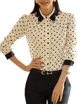 Bead Collar Polka Dots Shirt
