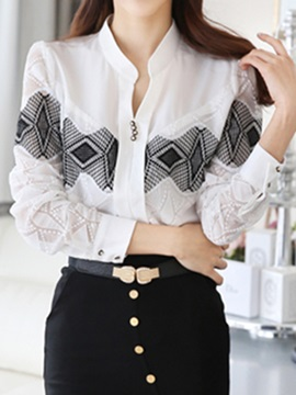Special Lace Pattern Slim Shirt