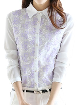 Chic Embroidery Flower Decoration Slim Shirt