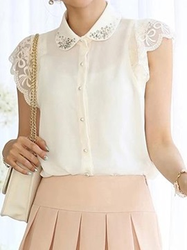 Chic Lace Cuff Lapel Shirt