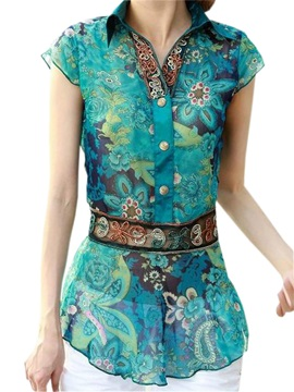 Ethnic Floral Printed Short Sleeves Shirt