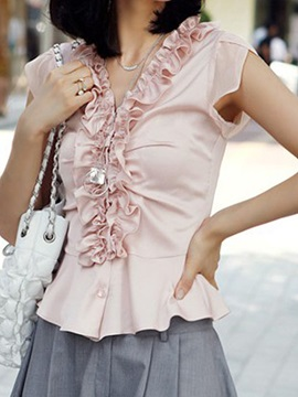 Chic Pleated Decoration Collar Shirt