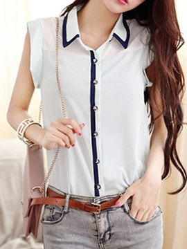 Chic Collar Sleeveless Slim Shirt