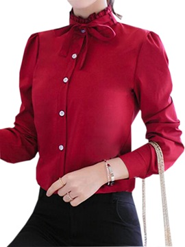 Chic Lace-up Stand Collar Slim Shirt