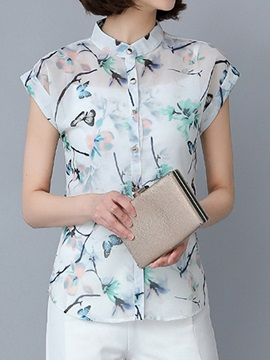See-through Floral Printed Slim Shirt