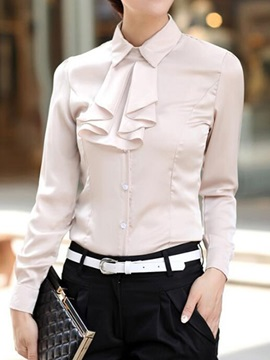 Stylish Pleated Decoration Collar Slim Shirt