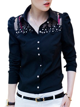 Stylish See-through Sequins Decoration Collar Shirt