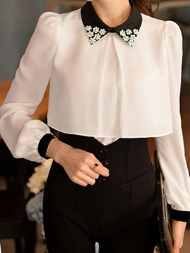 stylish Appliques Collar Chiffon Shirt
