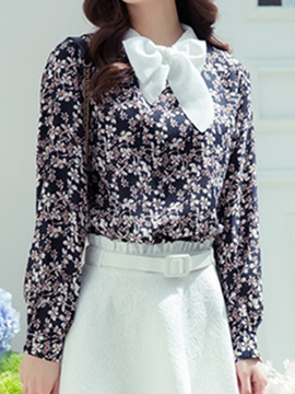 Chic Collar Floral Slim Shirt